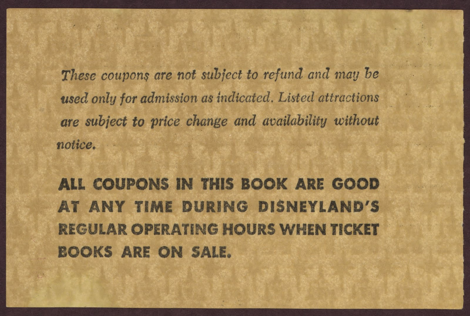 Vintage Disneyland Tickets: May 1967 \