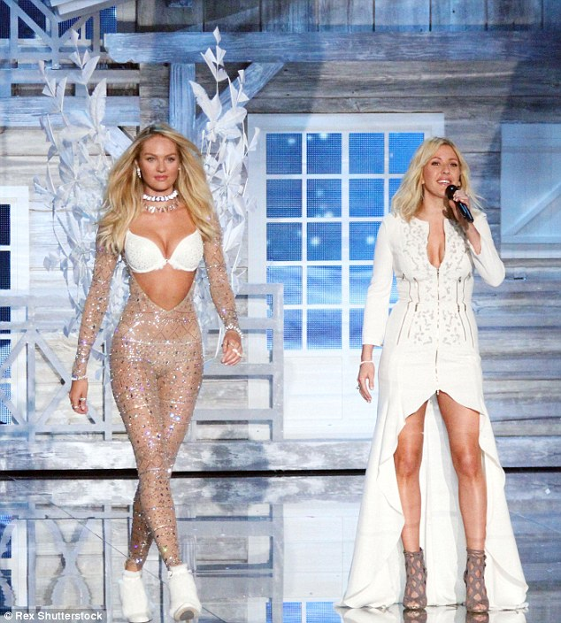 Candice wore a glittering nude bodysuit at the 2015 VS Fashion Show in NY