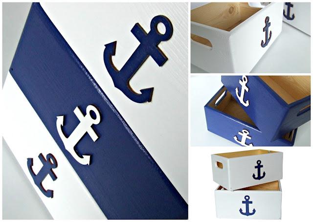 pudełka na zabawki w stylu marynarskim - pudełka z kotwicą Eco Manufaktura