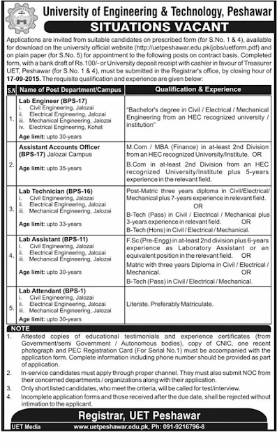 New Jobs in University of Engineering & Technology Peshawar