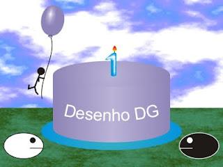 Aniversário de um ano do blog Desenho DG com bolo, Xatoo e Balls