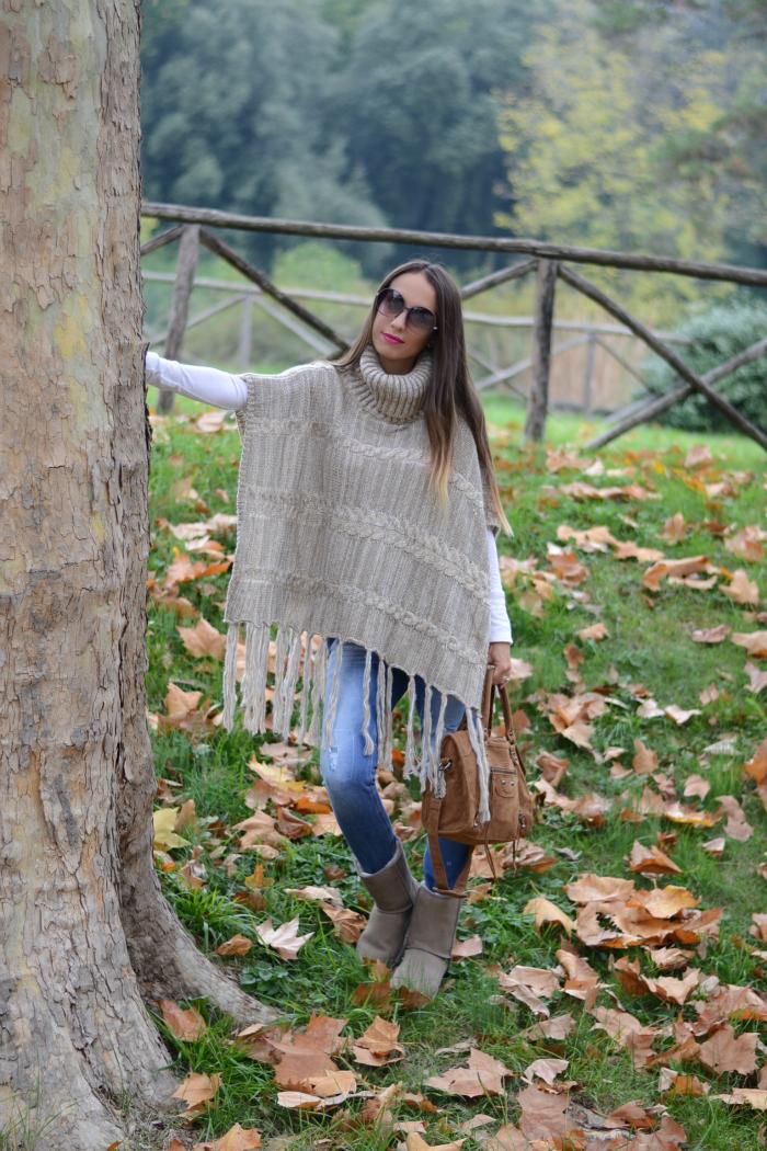 look con poncho lana
