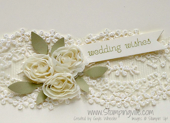 Wedding card flower & lace close-up
