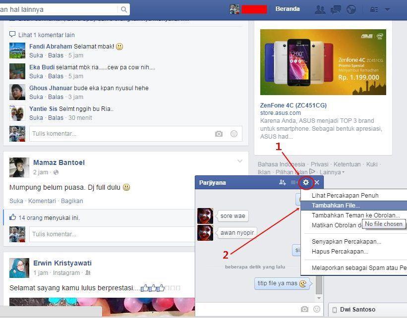 Cara Mengirim file dengan Facebook
