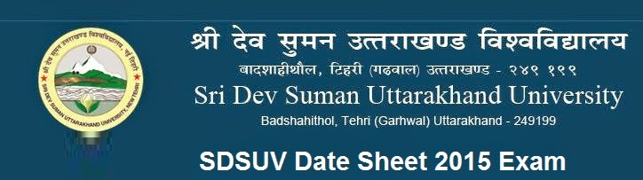 SDSUV Date Sheet 2015 Exam