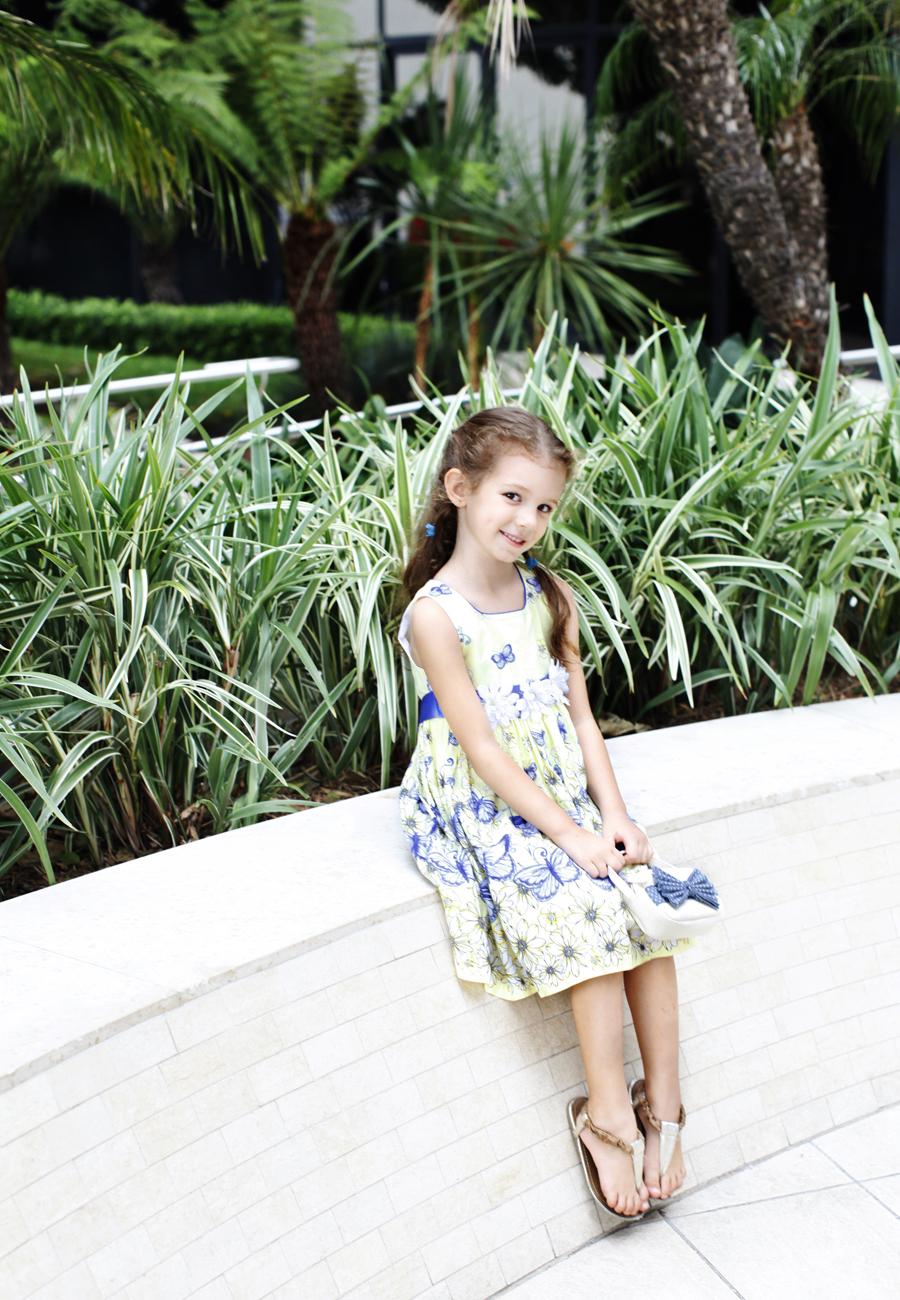 Blue butterfly floral print dress