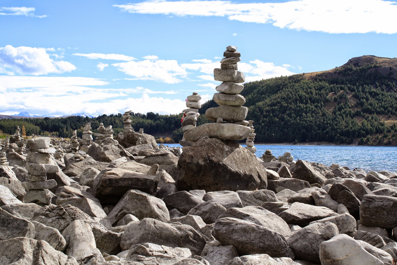 Stacked stones by Lake Tekapo, in the South Island of New Zealand.