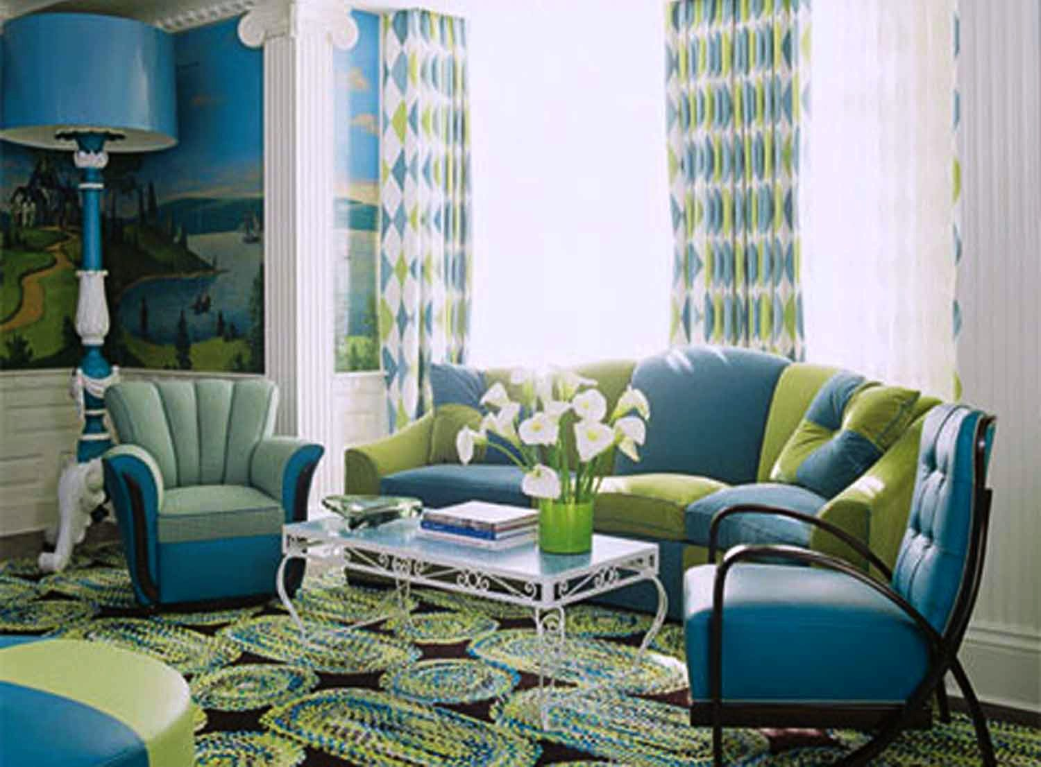 Home decor brilliant turquoise interior designs for Modern living room green