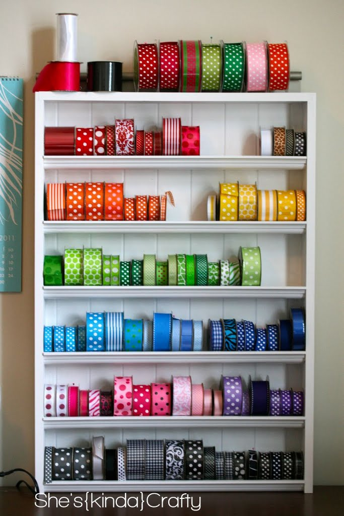 DIY Ribbon Shelf - Shes {kinda} Crafty