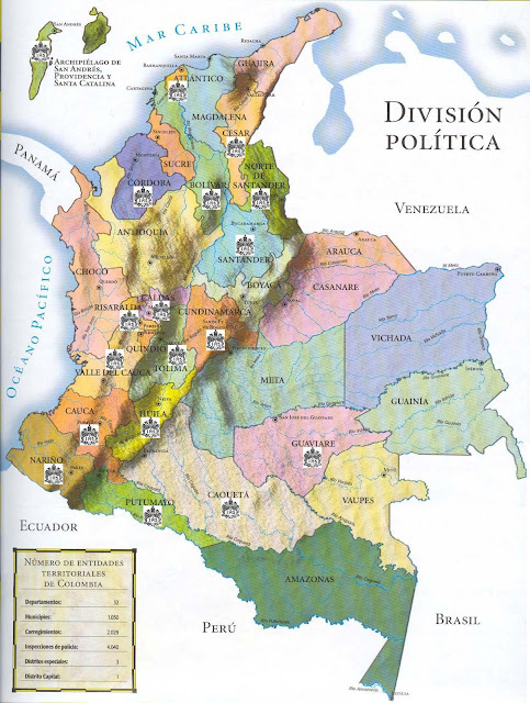 Mapa de Colombia y sus límites