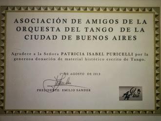 GRACIAS A LA ASOCIACION DE AMIGOS DE LA ORQUESTA DEL TANGO DE LA CIUDAD DE BUENOS AIRES