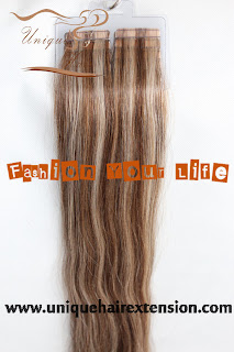 Foiled look tape weft extensions
