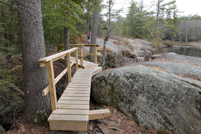 a new bridge along the south shore of McLeod Pond at Catamount State Forest