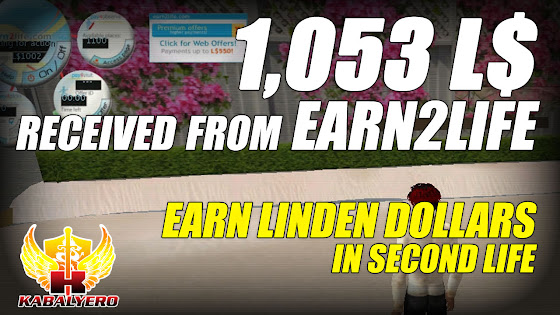 Received 1,053 Linden Dollars From Earn2Life ★ Earn Linden Dollars In Second Life