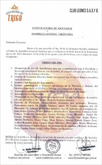 ESPACIO PUBLICITARIO: CLUB LEONES - CONVOCATORIA