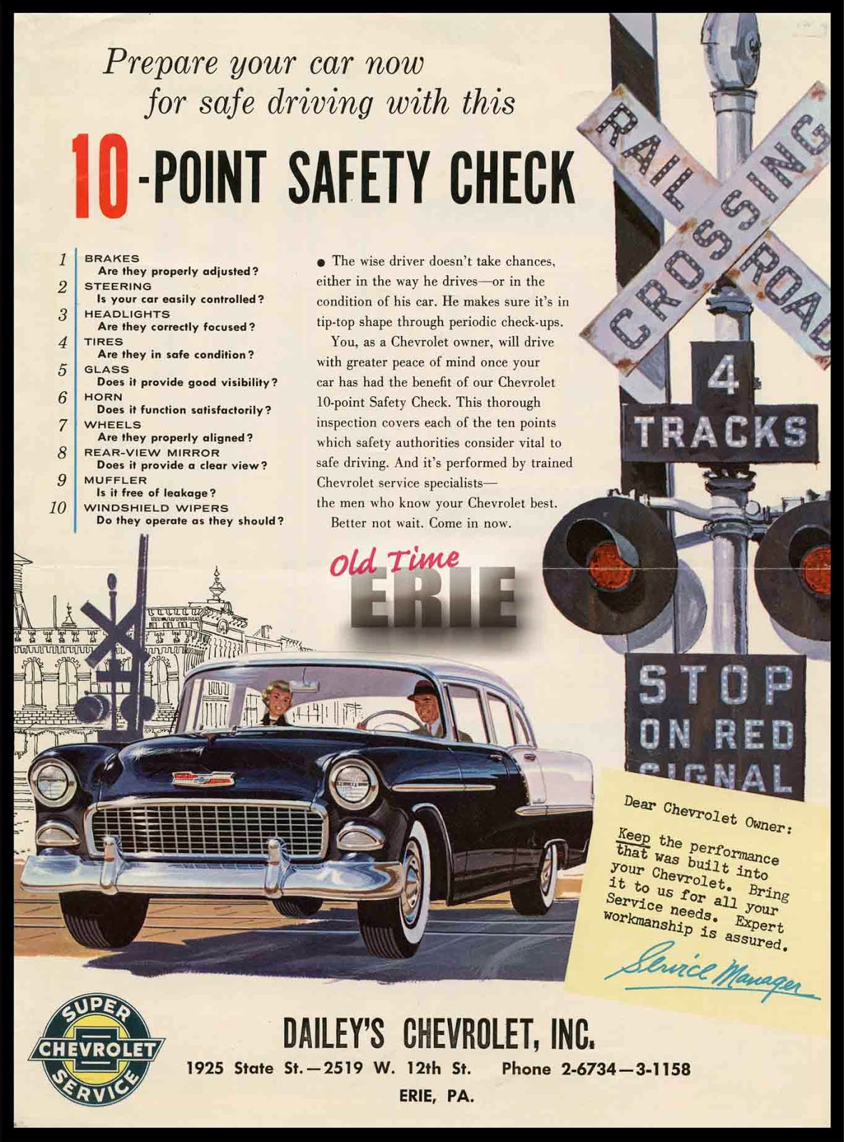 Old Time Erie Dailey S 1955 Chevrolet Super Service Ad