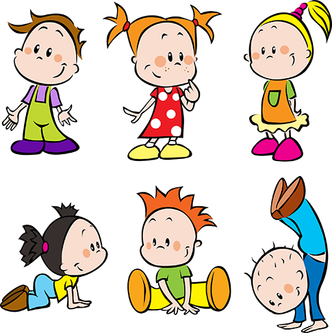 Clipart de niños y escolares tipo cartoon en vector