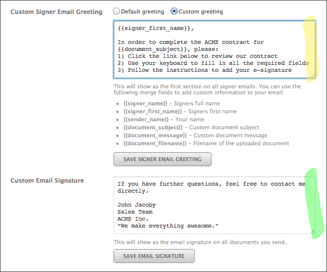 Email Customization Craft RightSignature Emails to Fit Your – Sample Sales Email