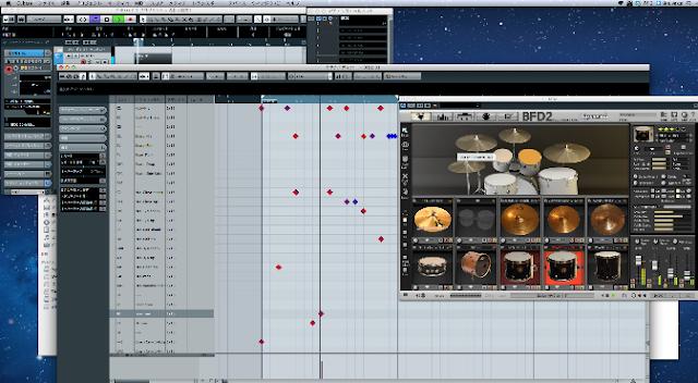 Cubase/ドラムエディタ画面