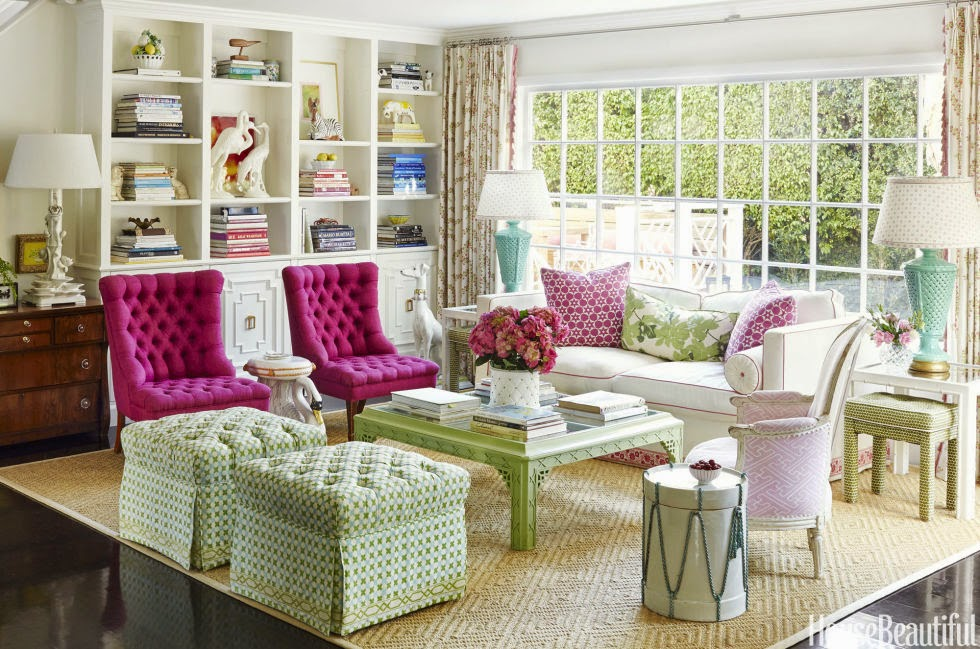 The glam pad krista ewart 39 s whimsical and colorful los for Green and pink living room ideas