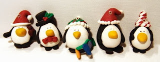 polymer clay penguin ornaments