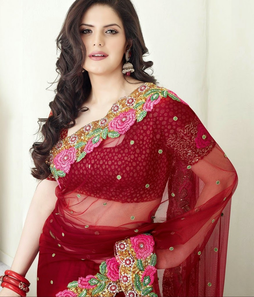 Beautiful Red Color Indian Saree Designs 2014 15 Fashion Updos