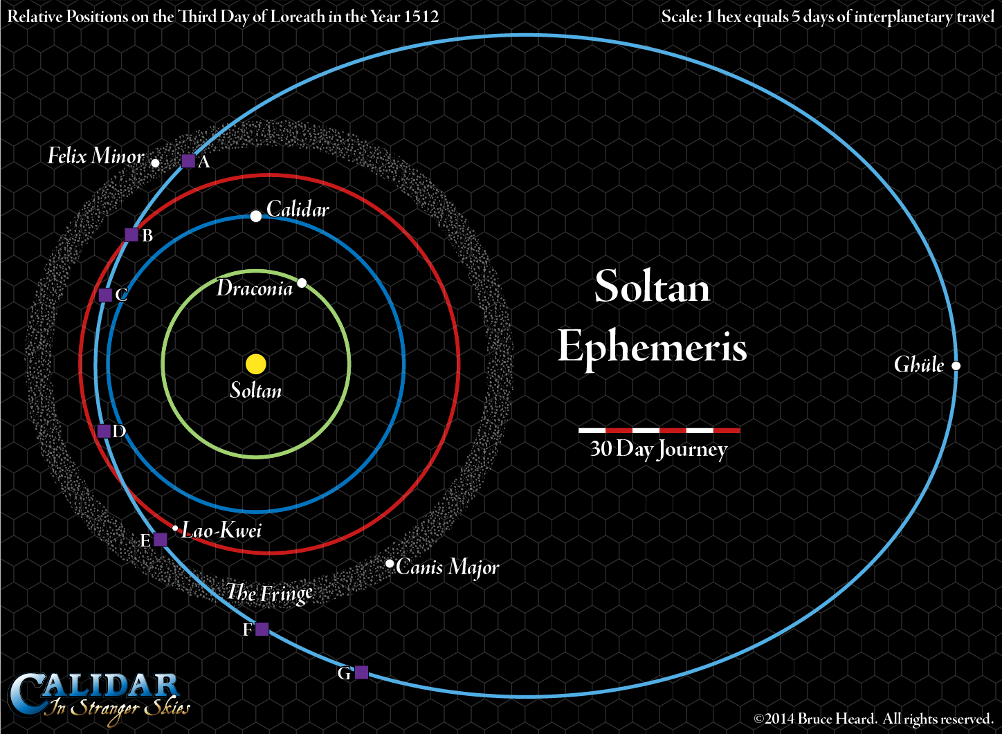 Soltan Ephemeris Overview and Orbital Map, showing Draconia, Calidar and its moons, Lao-Kwei and its moon, the Fringe, and Ghüle.  Solar System Map.