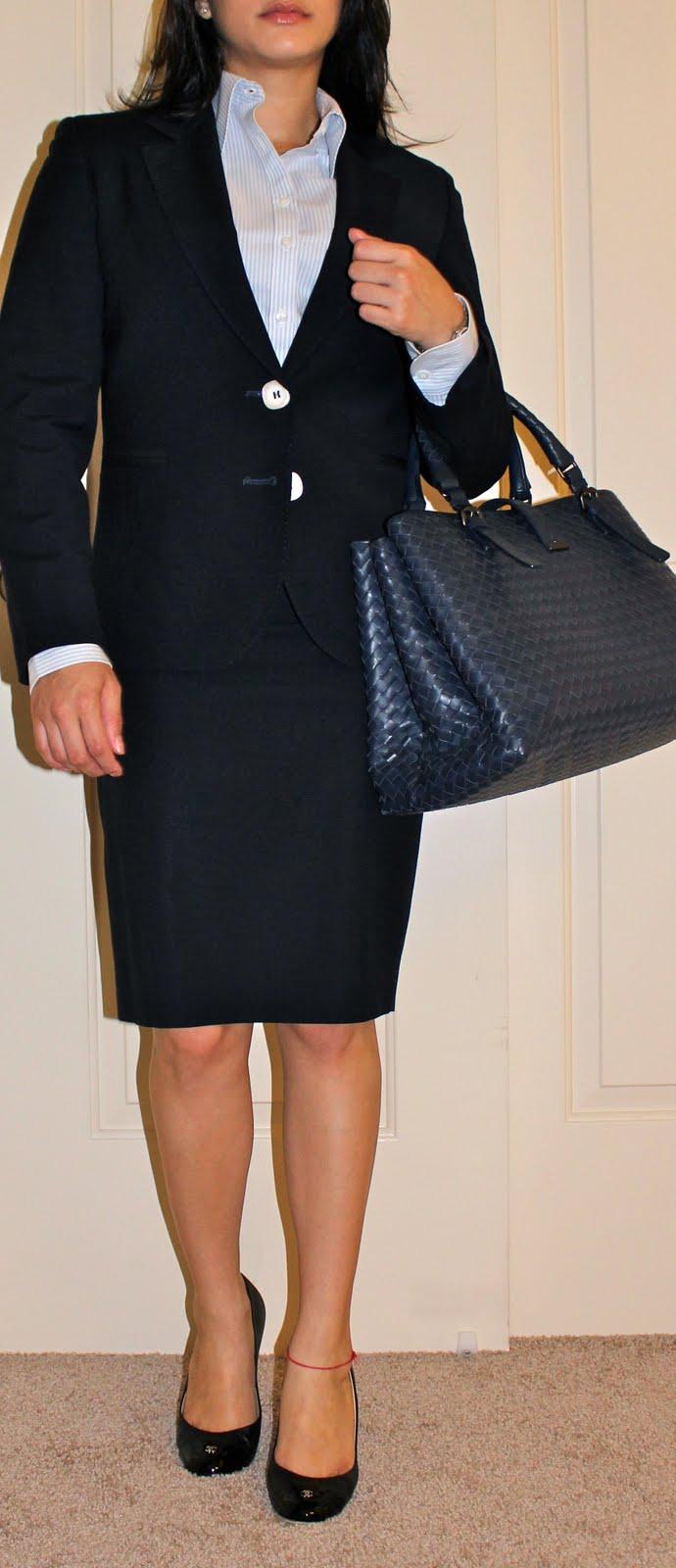 Petite career blogger in custom suit