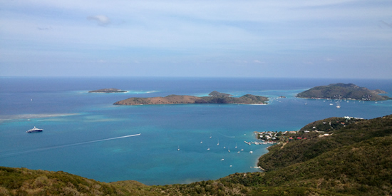 View of Necker Island, Prickly Pear Island and Leverick Bay from Virgin Gorda, BVI