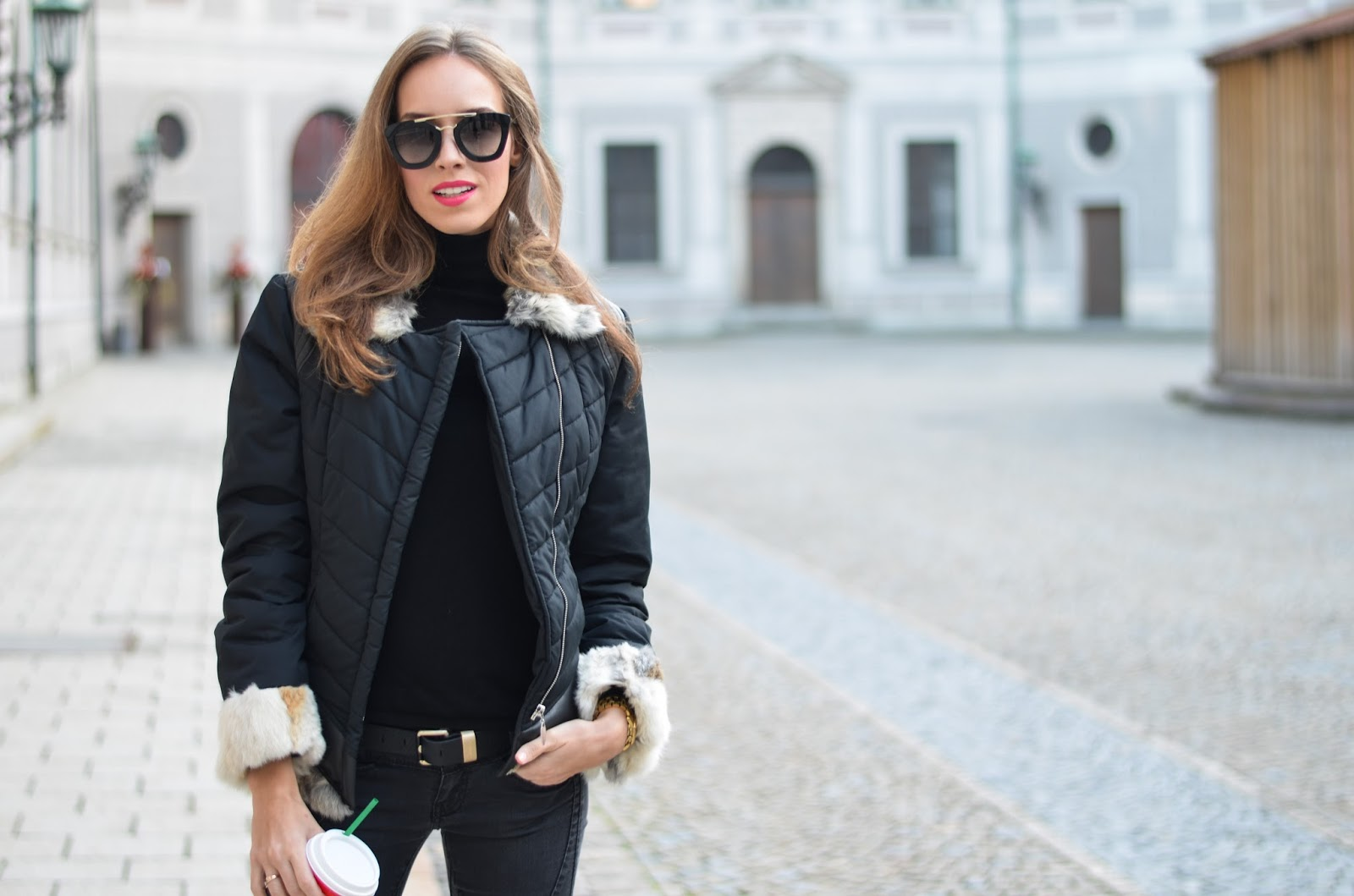 kristjaana mere rabbit fur collar jacket black turtleneck prada sunglasses winter outfit