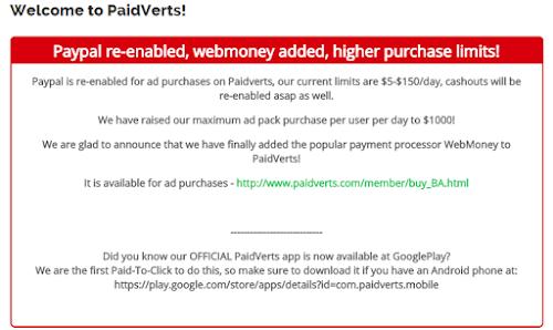 Paypal de volta ao PaidVerts