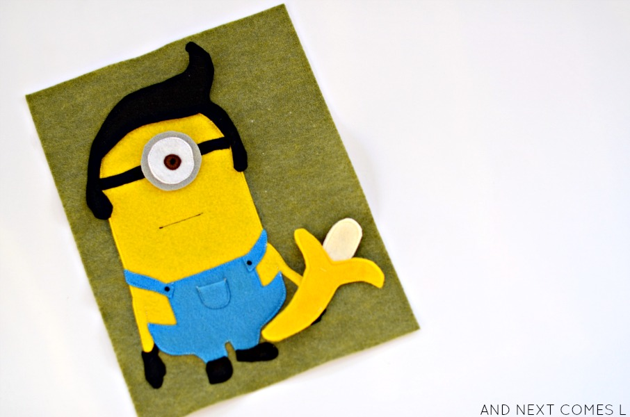 Dress up minion quiet book page {free printable pattern} from And Next Comes L
