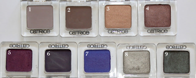 Catrice Eyeshadows Eyeshadow Mono Grey's Philosophy, Starlight Espresso, Oh, It's Toffee-ful, My First Copperware Party, Heidi Plum (OLD), Heidi Plum (NEW), Don't Lie, Lac, The Noble Knights, C'Mon Chameleon