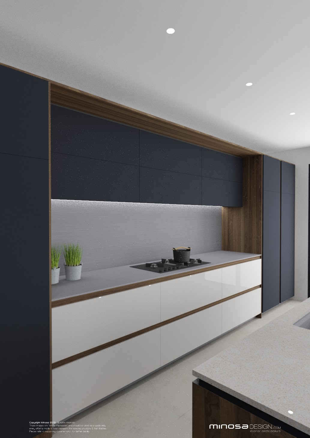 Minosa striking kitchen design with rich wood copper for White copper kitchen