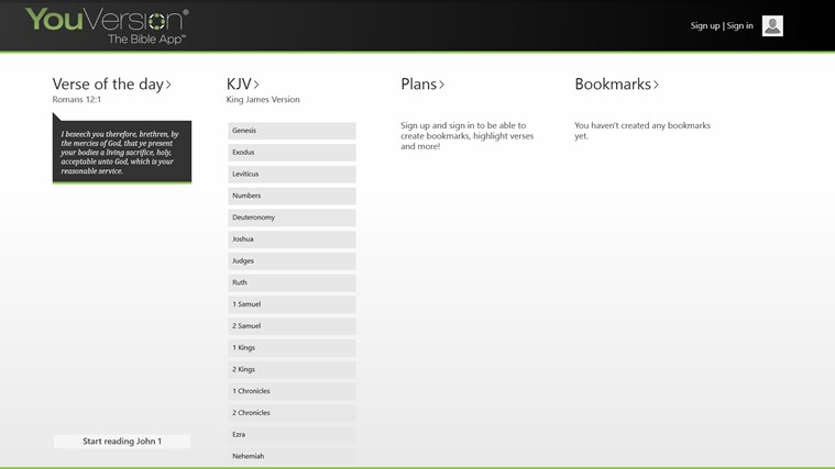 YouVersion Bible App for Windows 8 and Windows 10
