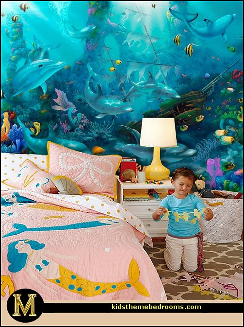 Decorating theme bedrooms maries manor underwater for Ariel wall mural