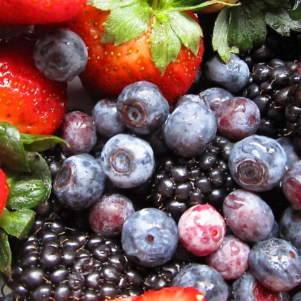 mixed berries in colander