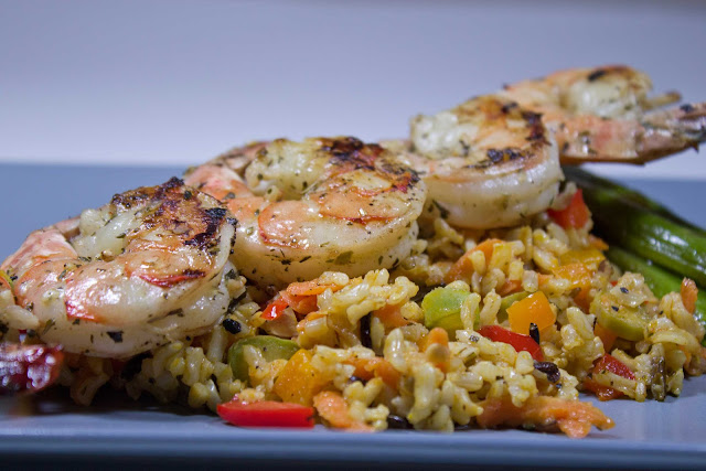 Shrimp Skewers on Wild rice