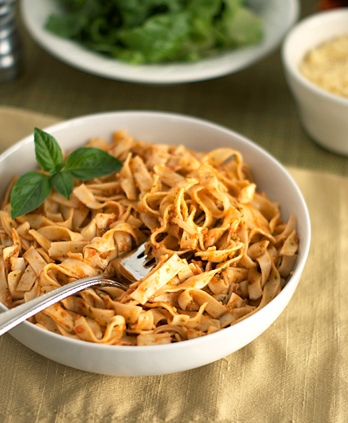 Pasta with Tomato and Almond Pesto ~ Heat Oven to 350
