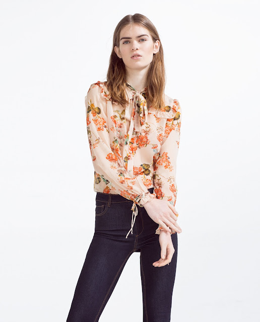 zara orange print blouse, zara orange flower blouse,