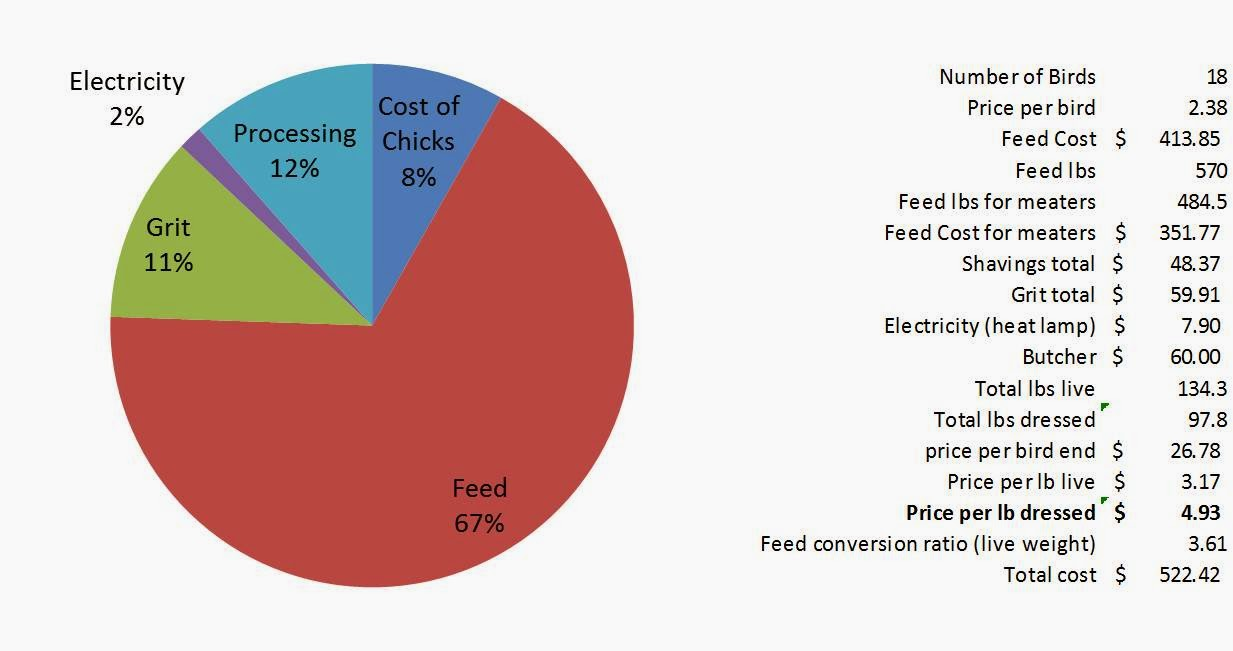 The homestead laboratory spring chickens 2014 final stats for what its worth changing the assumption of feed consumption from 85 to 95 increases the price to 535lb so still quite a bit better than our fall nvjuhfo Image collections