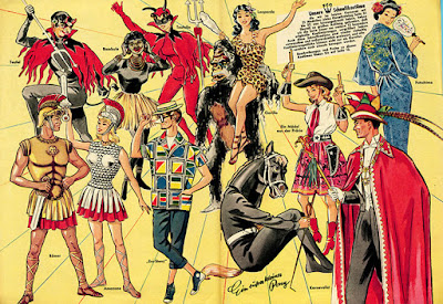 Centerfold of Karneval  katalog from 1955 - Einzinger & Co. Munchen  - costumes