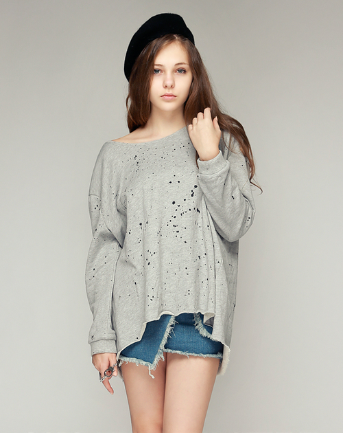Oversized Paint Splatter Sweater
