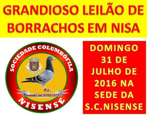 NISA: LEILÃO DE BORRACHOS NA SOCIEDADE COLUMBÓFILA NISENSE