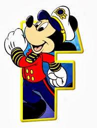Alfabeto de personajes Disney con letras grandes F Mickey.