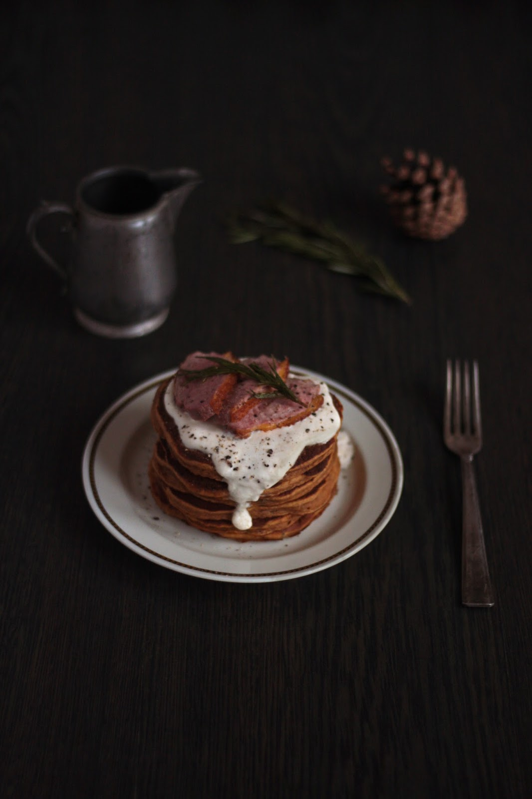 Xmas Duck and Sweet Potato Pancakes Recipe with homemade Rosemary Sauce - brough to you by Pancake Stories