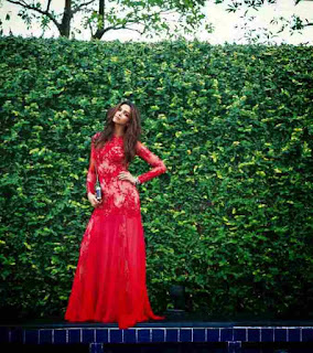 Deepika padukone in red, red gown, deepika photoshoot in red