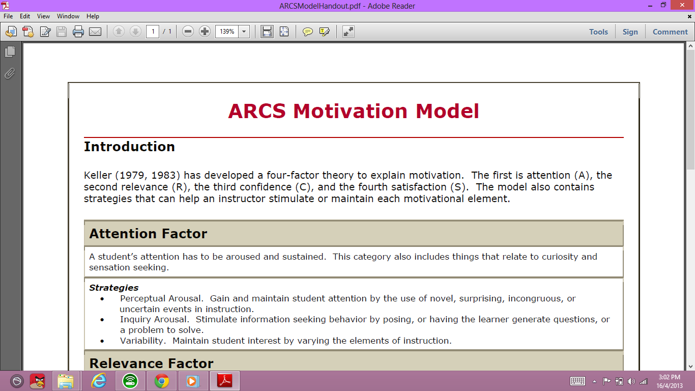 arcs model of motivational design keller pdf