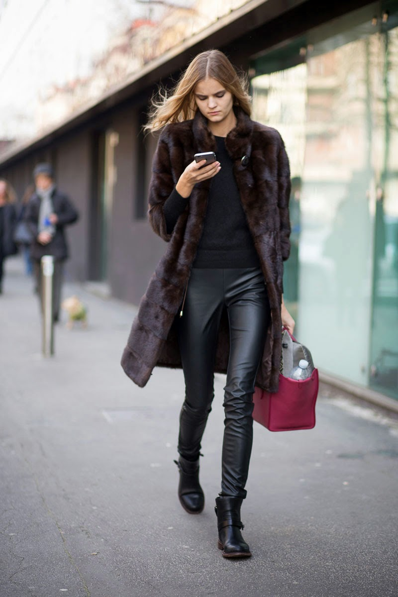 Model Street Style Kate Grigorieva 39 S Textured Look The Front Row View