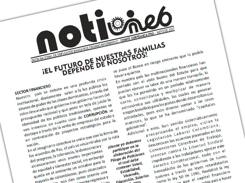 NotiUNEB Comité Corpbanca-Itaú Mayo de 2017: ¡El futuro de nuestras familias depende de nosotros!